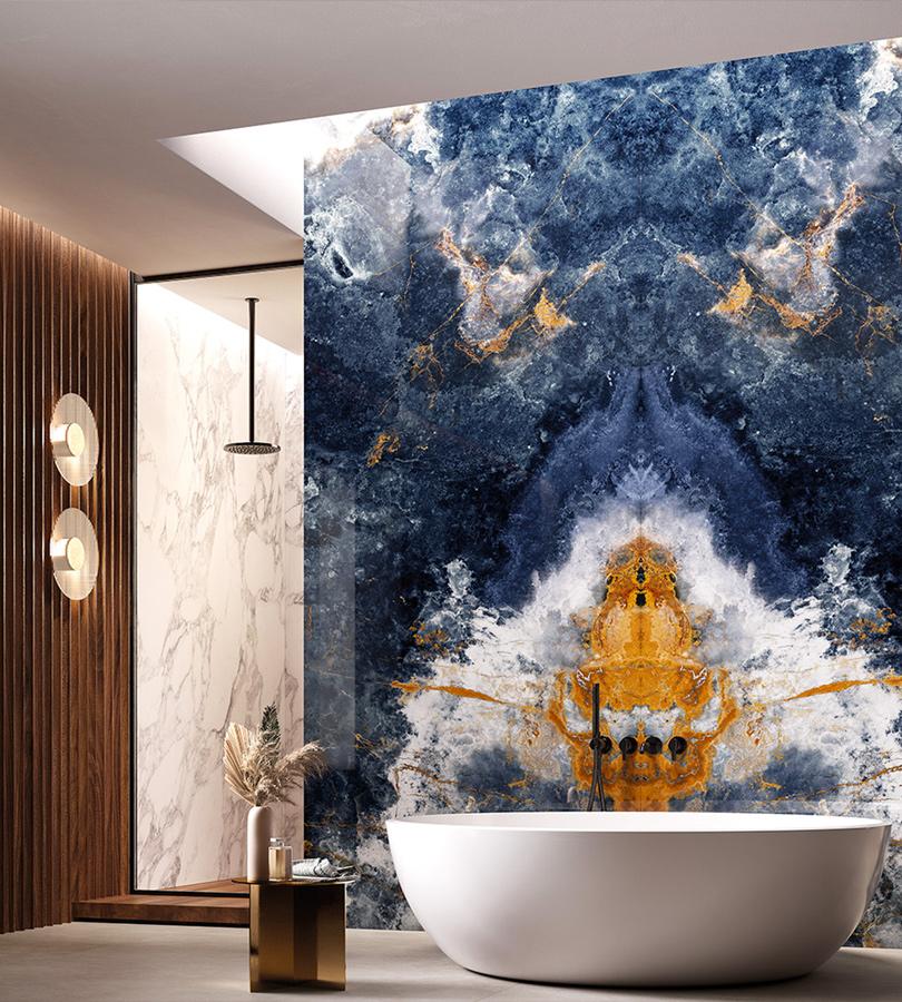 Idee bagno con grandi lastre per un design di tendenza