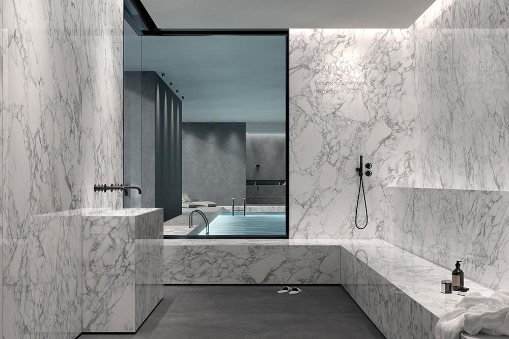 Abbinare l'effetto marmo in bagno per un'oasi di relax