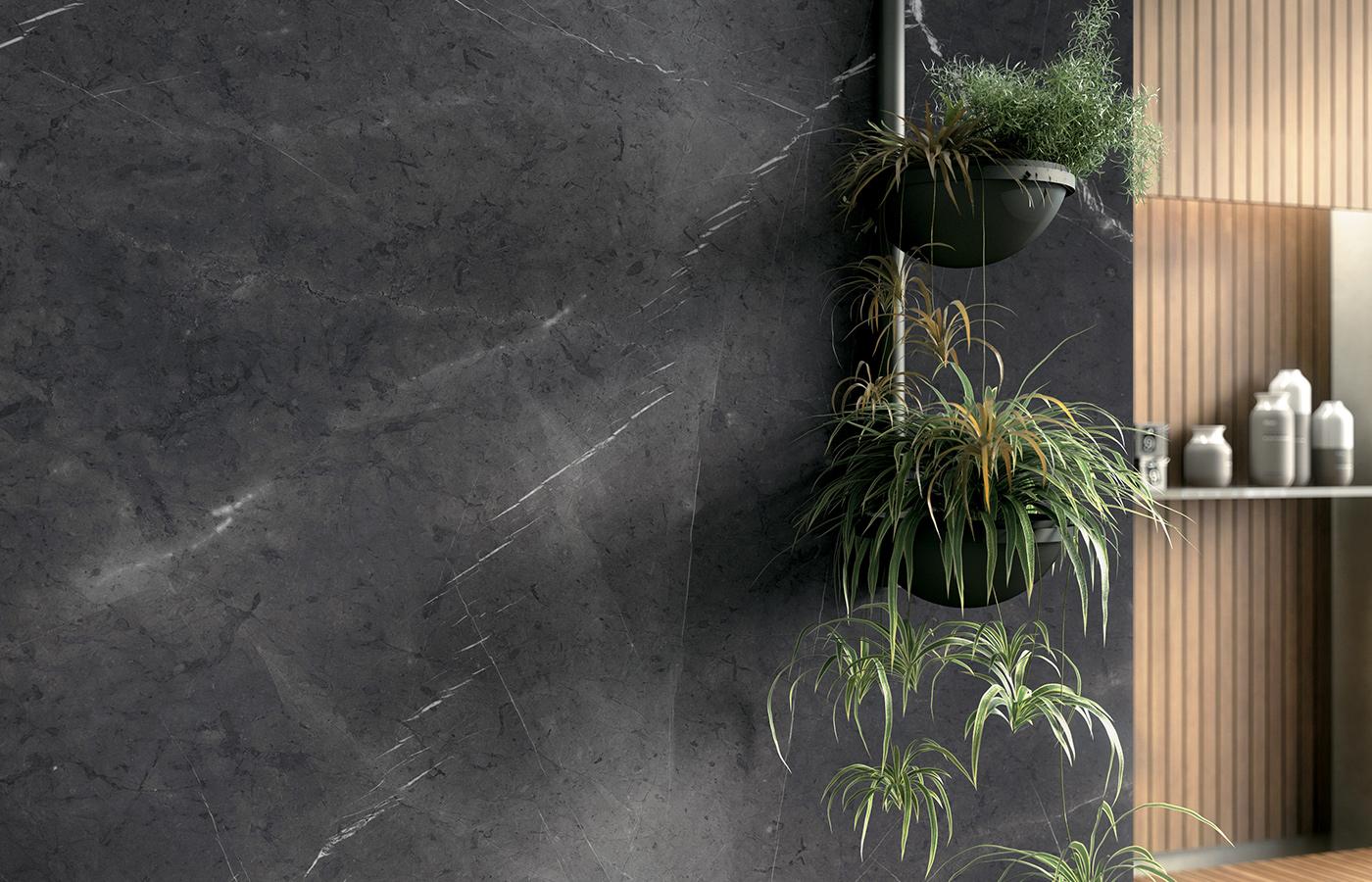 Pietra Grey, nella sua tonalità intensa, ma anche neutra e versatile, si candida a tinta d'elezione per un bagno moderno