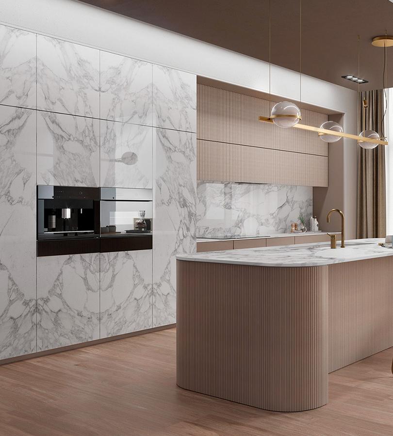 Top cucina in Gres: il marmo Calacatta